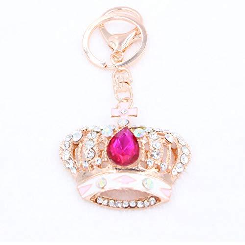Qsoleil Charm Schlüsselanhänger Geschenk Strass Anhänger Schlüsselanhänger King/Queen Krone Keychain (Rose Rot)