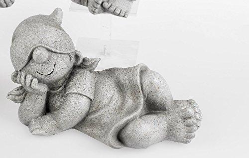 Zwerge in Steinoptik. Lustige Gartenzwerge Wichtel Kinder Mädchen liegend aus Kunststein ca 26 cm (Typ D)