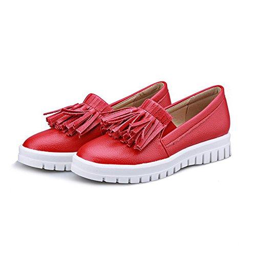 VogueZone009 Femme Tire Fermeture D'Orteil Rond à Talon Correct Pu Cuir Couleur Unie Chaussures Légeres Rouge