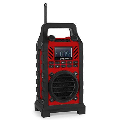Duramaxx • 862-BT-RD • Bluetooth Lautsprecher • Baustellenradio • MP3-fähiger USB-Port und SD-Slot • UKW / MW-Radiotuner • 20 Senderspeicher • LED-Display • AUX-Eingang • stoßfest • spritzwassergeschützt • Tragegriff • Netz- und Batterie-Betrieb • rot (Karaoke-speicherkarte)