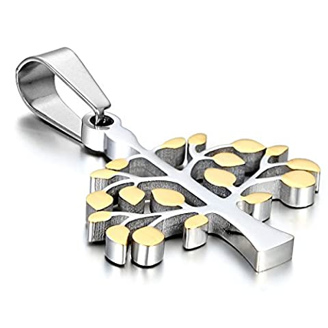 cupimatch Frauen Silber Gold Zwei Ton Edelstahl Religiöse Baum des Lebens Anhänger Halskette mit 45,7cm Kette Weihnachtsgeschenk für Männer Lady