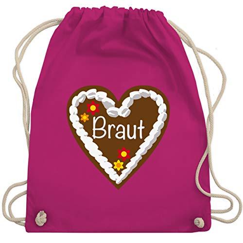 JGA Junggesellinnenabschied - Lebkuchenherz Braut - Unisize - Fuchsia - WM110 - Turnbeutel & Gym (Stagette Kostüm)