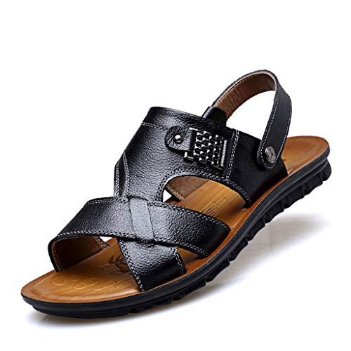 rutschfest Herren Sommer Leder Sandalen Outdoor Hausschuhe Strandschuhe Bequem (Farbe : Schwarz, größe : 40 EU) - Beseitigen Fußgeruch