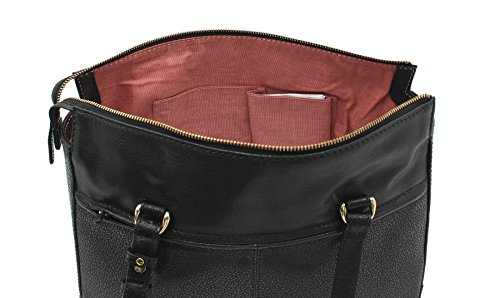 Leather Tote Tula RYE Collection Pebbled con spalline Gemelle 8434 nero nero