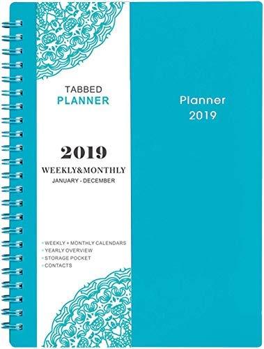 2019-2020 Planer - Wöchentlich und Monatlich Planner, Juli 2019 - Juni 2020, Flexibler Einband, 12 Monatliche Registerkarten, 21 Notizen, Zweidrahtbindung mit Zweiseitiger Innentasche, 5