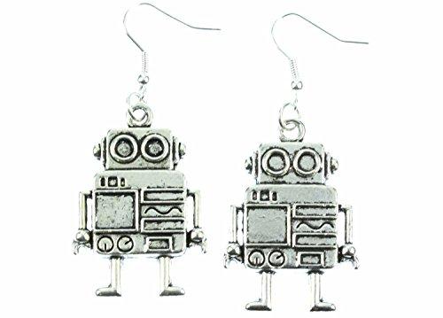 Roboter Ohrringe Hänger Miniblings Robot Computer Maschine Steampunk PC XL