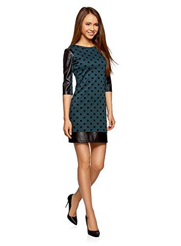 oodji Ultra Damen Kleid mit Flock-Druck und Lederimitat-Besatz Grün (6E29D)