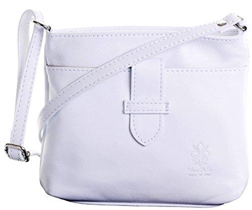 Italienische weiches Leder, kleine Schnallen Fronted dreifache Fach verstellbarem Schultergurt Cross Body oder Umhängetasche Handtasche.Umfasst eine Marke schützenden Aufbewahrungstasche. weiß