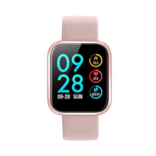 Smartwatch, Reloj Inteligente Bluetooth Smart Watch Hombres Mujeres Niños IP68 Impermeable Deportes Fitness Tracker,Pulsómetro, Monitor de sueño,Podómetro,SMS,Pulsera para Android y iOS (Rosa)