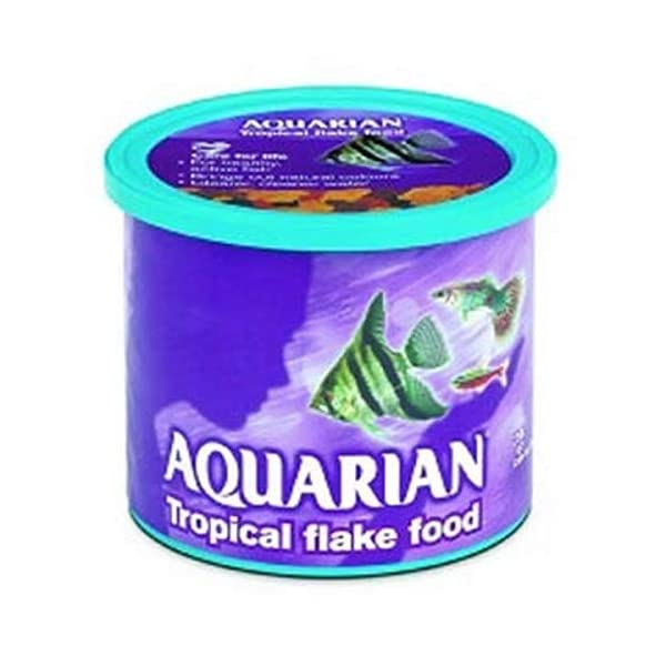 AQUARIAN Complete Nutrition, Aquarium Tropical Fish Food Flakes, 100 g Container