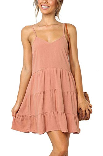 DanceWhale Kleider Damen Sommerkleid Träger Rückenfreies V Ausschnitt Kleid Strandkleider Minikleid Rosa -
