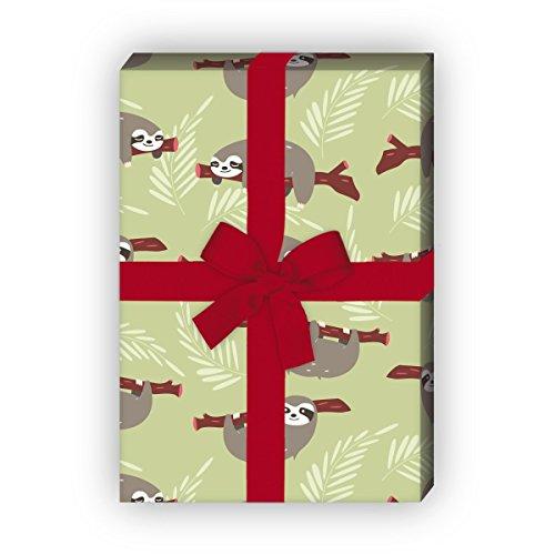 Lustiges Faultier Geschenkpapier Set (4 Bogen)/Dekorpapier nicht nur für Kinder, grün, für tolle Geschenk Verpackung und Überraschungen basteln 32 x 48cm