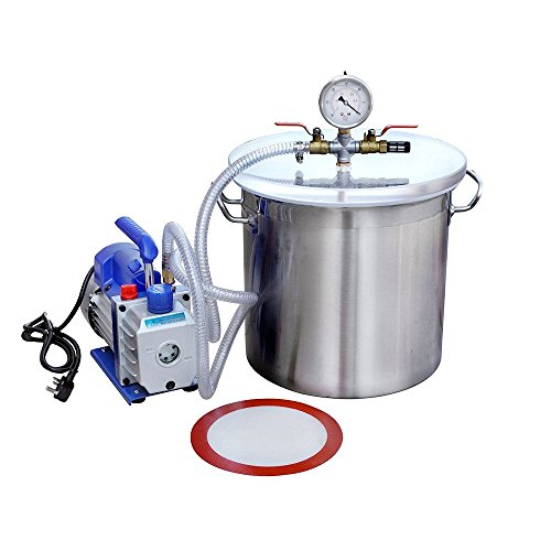 DCHOUSE 5 Gallonen-Edelstahl-Vakuum-Entgasungs-Kammer-Kit mit 3 CFM Single Stage Pump Kit