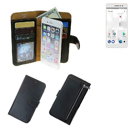 K-S-Trade® Für Thomson Delight TH201 Schutz Hülle Portemonnaie Case Phone Cover Slim Klapphülle Handytasche Schutzhülle Handyhülle Schwarz Aus Kunstleder (1 STK)
