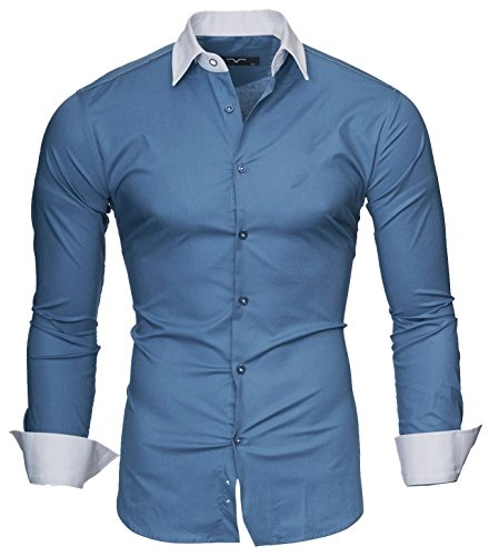 Denim Bench Shirt (Kayhan Herren Hemd Mailand, Denim Blau (L))