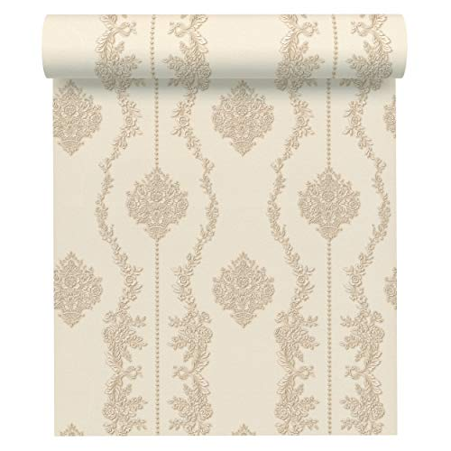 A.S. Création Vliestapete Chateau 5 Tapete mit Ornamenten barock 10,05 m x 0,53 m beige creme metallic Made in Germany 344931 34493-1 - Neo Chateau