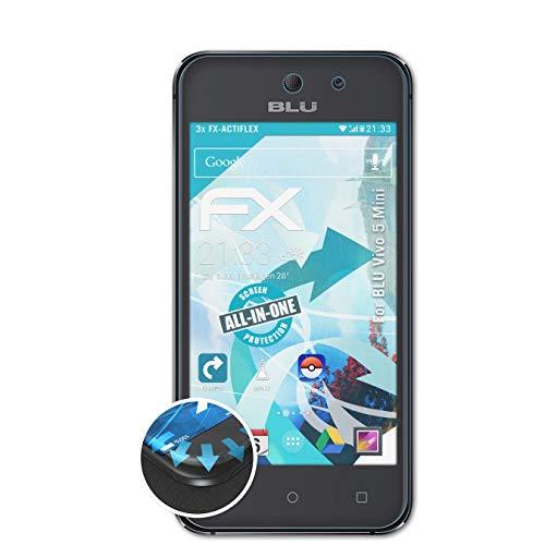 atFolix Schutzfolie passend für BLU Vivo 5 Mini Folie, ultraklare & Flexible FX Bildschirmschutzfolie (3X)