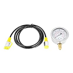 Xinrub Hydraulic Hose Test Point Coupling M16*2-BSP1/4 + 0~600BAR/8500PSI Gauge+ Hose hydraulic pressure gauge kit