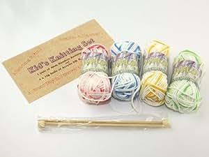 Children's Knitting Kit - Set of 4 Multicoloured Yarns & Bamboo Needles