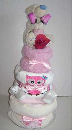 3 Tier Luxury Teddy Bear Girl's Nappy Cake