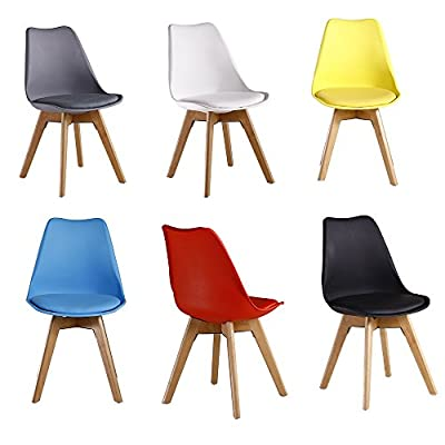 P&N Homewares® Lorenzo Tulip Chair Plastic Wood DSW Retro Dining Chairs White Black Grey Red Yellow Pink Green Blue - cheap UK light shop.