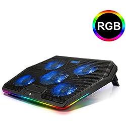 TECKNET Ventilateur PC Portable, Gaming Refroidisseur Ordinateur Portable 12-19 Pouces avec 5 Ventilateurs Silencieux, RGB Rétro-Éclairage LED, 2 Hauteurs Réglables, 2 Ports USB