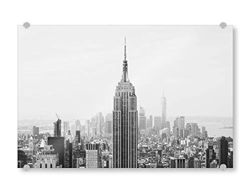 artboxONE Acrylglasbild 150x100 cm Städte/New York Das Staatsreich - Bild Skyline New York schwarz und weiß