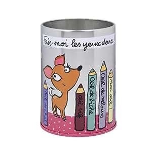 """Pot à crayons """"Yeux doux"""" - Rose/Métal - Derrière la Porte - DLP"""