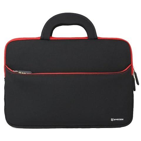 Laptophülle, Evecase Universal 14 Zoll Neopren Laptop Schutzhülle mit Vorderseitigem Zubehörfach für Notebook Macbook Ultrabook Tablet - Schwarz / Rot
