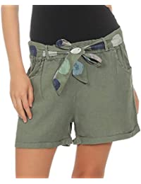 f8b7fd7793 Malito Mujer Pantalones de Lino Pantalones Cortos Bermuda Basic Plain  Colores 6058