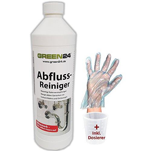 GREEN24 Profi Abflussreiniger Abfluss Fix 1 L SET Industrie Rohrreiniger + Handschutz und Dosierer, professionelle Rohr Abfluss Reinigung