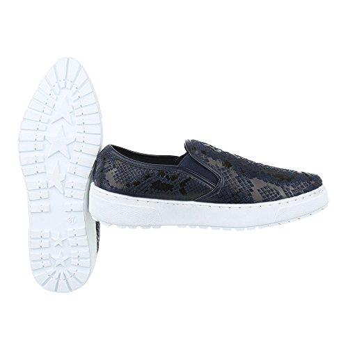 Slipper Damen Schuhe Low-Top Moderne Ital-Design Halbschuhe Dunkelblau