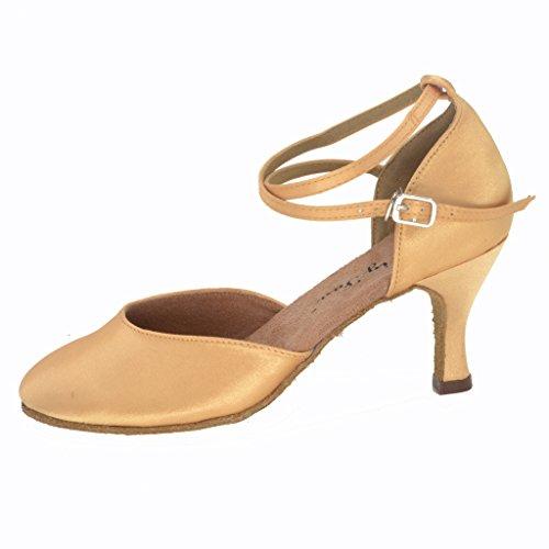 Jig Foo Chaussures de Pompes Dance pour Femme Beige - peau