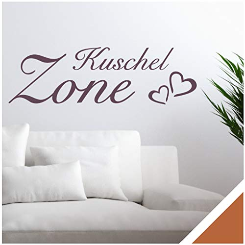 Exklusivpro Wandtattoo Spruch Wand-Worte Kuschel-Zone mit Herzen inkl. Rakel (wrt05 haselnussbraun) 140 x 42 cm mit Farb- u. Größenauswahl