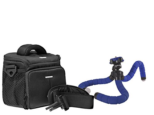 Foto Kamera Tasche ACTION BLACK ONE plus Reise Stativ Rollei MONKEY blue