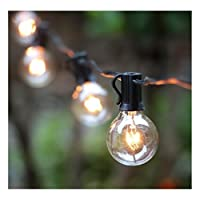 25 ft led globe g40 string lights set with 25 led warm white. Bulbs included end-to-end - ul listed indoor & outdoor lights settings  patio string lights & christmas decorative lights & holiday lights & umbrella lights  perfect for ba...
