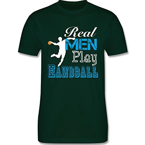 Handball - Real Men Play Handball - Herren Premium T-Shirt Dunkelgrün