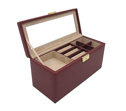Cordays - Joyero Deluxe Mediano y Compacto para Señora con Cerradura y 2 Bandejas Extraíbles. Caja Organizador Hecho a Mano en Color Marsala CDL-10031