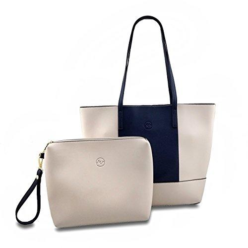 Minch Cute Mixed Farbe PU Leder Designer Taschen und Handtaschen für Frauen Arbeit auf Abstand, Navy-Gray -