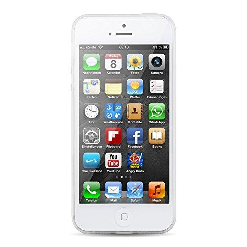 iPhone 5 Hülle, JAMMYLIZARD Transparentes Sketch Back Cover aus Silikon mit Muster für iPhone 5 / 5s & SE, TINKERBELL FESTLICHE KATZE