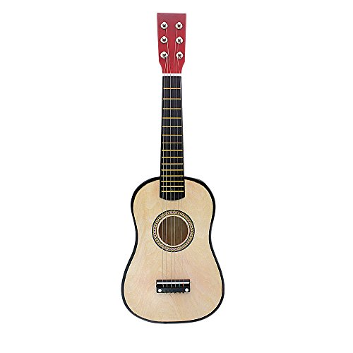 Ammoon - 23-Inch Children's Toy Musical Instrument Mini Basswood Acoustic String Guitar with Plectrum + Spare 1st String Beige + Rouge