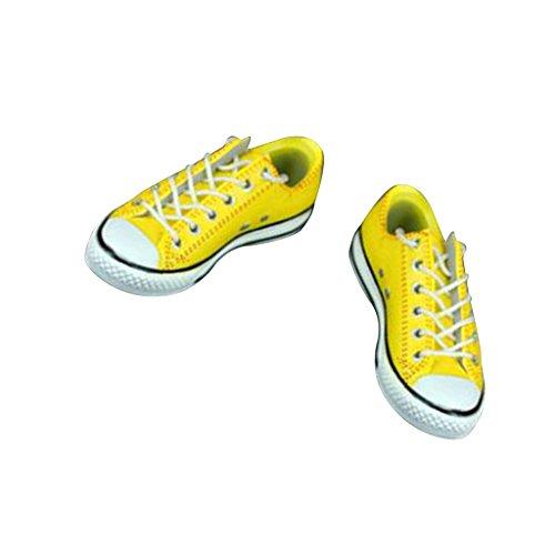 Sharplace 1 Paar Schnüren Segeltuchschuhe Sportschuhe aus Gummi für 1/6 Männliche Figuren Zubehör - Gelb