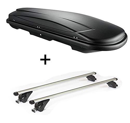VDP Dachbox VDPJUXT600 600Ltr abschließbar + Dachträger/Relingträger KING1 kompatibel mit Mercedes GLC (X253) (5 Türer) ab 15