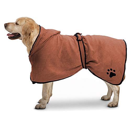 TFENG Microfibre Dog Bademantel Einstellbare Katze Schnell Trocknend Schnell Trocknend Pyjamas Frottee Superabsorbierende Pet Robe (Braun, Größe L) -