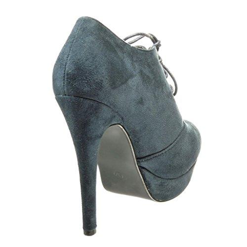 Angkorly - Scarpe Moda Stivaletti Scarponcini low boots stiletto zeppe donna Tacco Stiletto alto 12 CM Blu