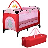 YSYDE Tragbare Baby-Reisebett Kinderbett Spielstift Kind Stubenwagen Laufgittereinstieg Mit Matte 2 in 1 Zwei Räder entwickelt Sie können es problemlos ohne Probleme bewegen
