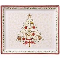Villeroy & Boch 14-8612-2856 Plato de repostería Rectangular Winter Bakery Delight, para Navidad, 27 x 22,5 cm, en Festivo Embalaje de Regalo, Porcelana, Multicolor, 28.4x24.0x10.7 cm