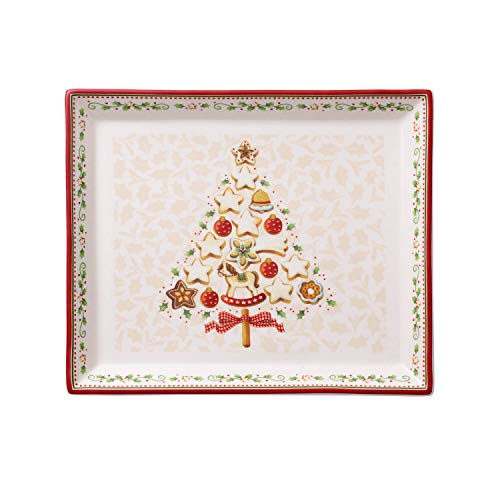 Villeroy & Boch Winter Bakery Delight Petit plat de service rectangle pour pâtisseries, Porcelaine Premium, Blanc/Rouge/Beige