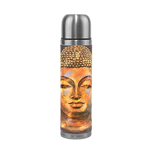 Bennigiry Buddah Buddhist Zen Art Pattern Print Stainless Steel Thermal Mug Vacuum Insulated Leak Proof Double Wall Thermos Water Bottle with PU Leather Case 17 oz - Leak-proof Insulated Travel Mug