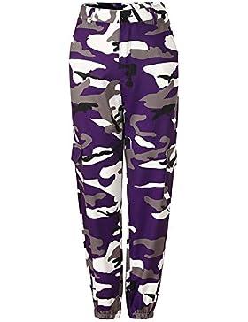 Pantalón de camuflaje Mxssi Hot Mujer Pantalón de camuflaje Hip Hop de cintura alta con bolsillos